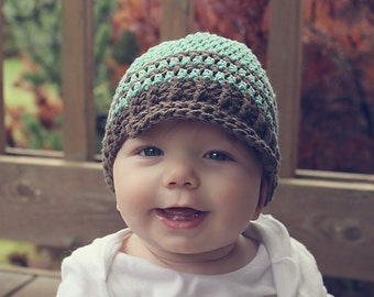 Crochet baby newsboy hat