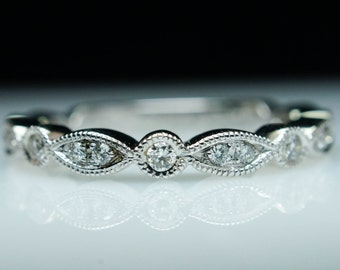 Vintage Style Stackable Wedding Band Stackable Ring Diamond Ring Thin Diamond Band Jewelry