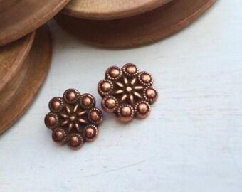 Flower metal button old copper tone x 1 pcs