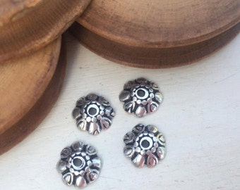 Bead cups old silver tone 9 mm x 4 pcs