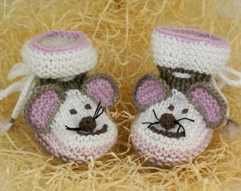 White Baby Booties  Mouse Crochet Baby Booty Lilac Baby Shoes Baby Shower Gift White Newborn Baby Socks /0-6 month