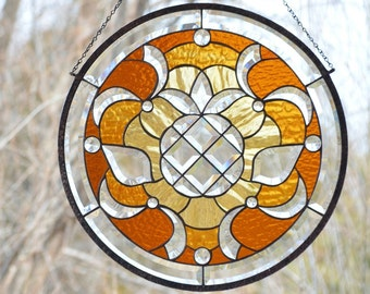Stained Glass Hanging Window Panel, Beveled Pineapple with Faceted Jewels, 'Welcome'