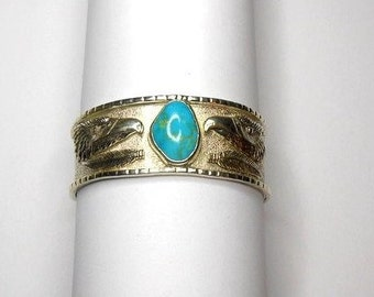 Sterling Silver /Eagles/feathers/ Turquoise Bracelet
