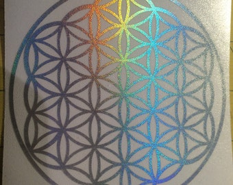 Flower of life die-cut decal sticker holographic