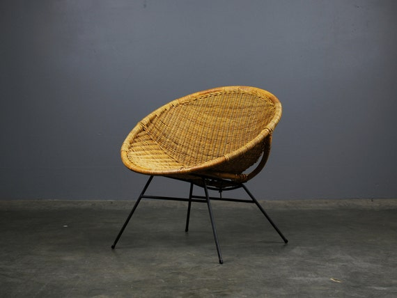 Mid Century Modern Wicker Hoop Chair By MadsenModern On Etsy