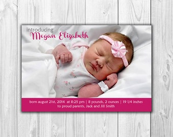 Baby Girl Birth Announcements - 10 Cards with Envelopes