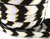"Black & Gold Arrow Chevron - 5 Yards Metallic Printed FOE - 5/8"" Fold Over Elastic - 5/8-M-129"