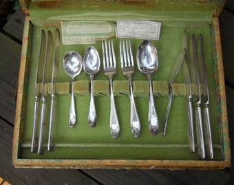 Rogers A1 Silver Plate Silverware in Original Wooden Box.  VINTAGE 26 Pieces in All. Great for Jewelry Making and More.