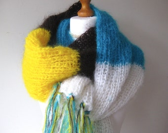 Wool scarf, Mohair scarf, Knit scarf, White, Yellow, Turquoise, Chocolate, Winter fashion,
