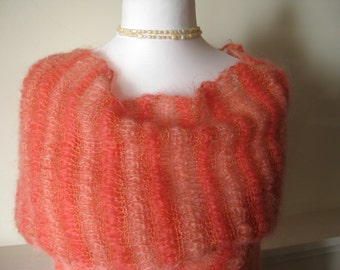 Wool scarf, Lace, Mohair, coral, hand knitted shawl, stripes