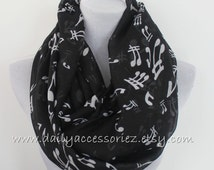 Cute Music Sheet Infinity Scarf Black Music Scarf Music Note Infinity Scarf Music Notes Scarf Loop Scarf Cute Scarf Fashionable Scarf Gifts