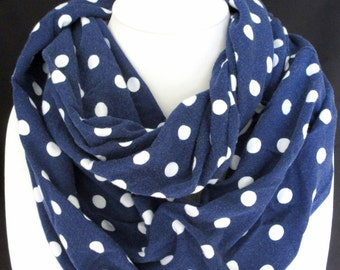 Navy Blue Infinity Scarf with White polka-dots