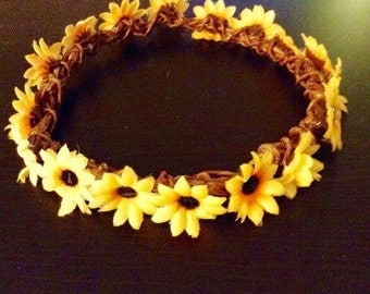 Boho Hippie Festival Small Yellow Flower Daisy Crown