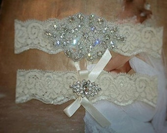 SALE -Shop Best Seller Wedding Garter Set- Crystal Rhinestone on a Ivory Lace-Style G2047