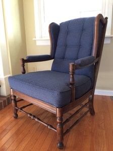 Blue Upholstered Wingback Cottage Style French Country