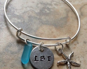 Vacation Beach LBI Bangle with Sea Glass