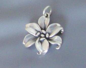 Sterling Silver Lily Charm / Pendant, 3D Flower, Made in USA