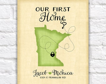 Housewarming Present, Personalized Gift for New House - First Home, Heart, Key, Lock, House Number, Street Address of Home, Realtor Client