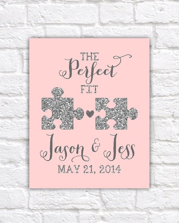 Art Piece Wedding Gift : Wedding Gift, Jigsaw Pieces, Perfect Fit, Puzzle, Blush, Glitter ...