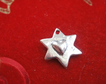 925 sterling silver star with heart, silver star with heart,