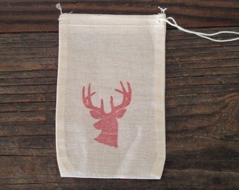 Christmas Deer Antler Party Favor Bags, 10 Muslin Cotton Bags