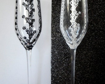 """Sale -- BRIDE and GROOM Flutes -- Wedding Hand Painted Champagne Flutes """"Lace"""" Set of 2"""