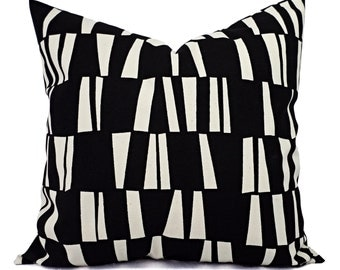 Two Black Pillow Covers - Black Geometric Decorative Pillows - Decorative Pillow Cover - Couch Pillow - Black and Cream Pillow