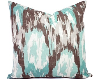 Two Ikat Pillow Covers - Decorative Pillow Cover - Throw Pillow - Blue Ikat Pillow - Brown Ikat Pillow - Blue Pillow Cover - Accent Pillow