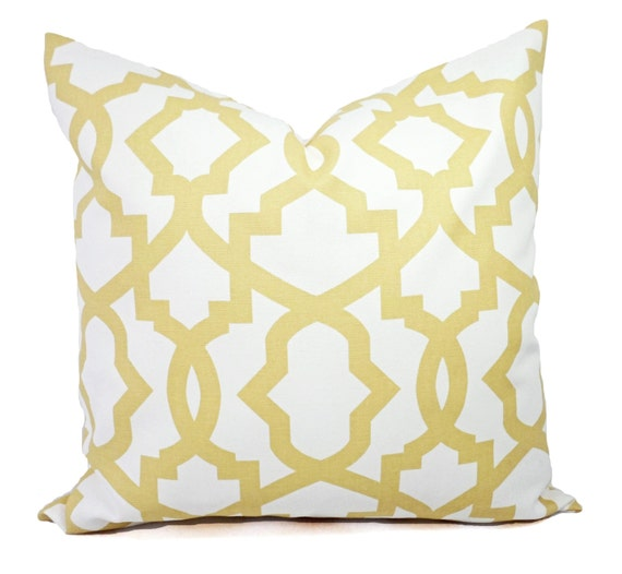 Soft Yellow Decorative Pillow : Two Yellow Trellis Decorative Pillow Covers by CastawayCoveDecor