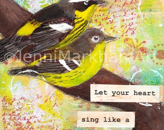 Mixed Media Collage Original - Heart Song