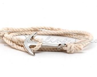 Ivory White Cotton Rope Anchor Bracelet