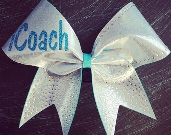 Icoach cheer in silver and turquoise with rhinestones