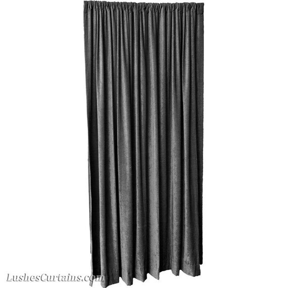 Luxury Black Velvet Curtain 120 inch Drop Long by LushesCurtains