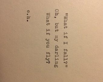 Erin Hanson Hand Typed Quote On Vinatge Typewriter