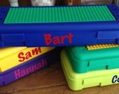 Personalized kids lego travel container. Lego Storage container - store legos inside and build on top