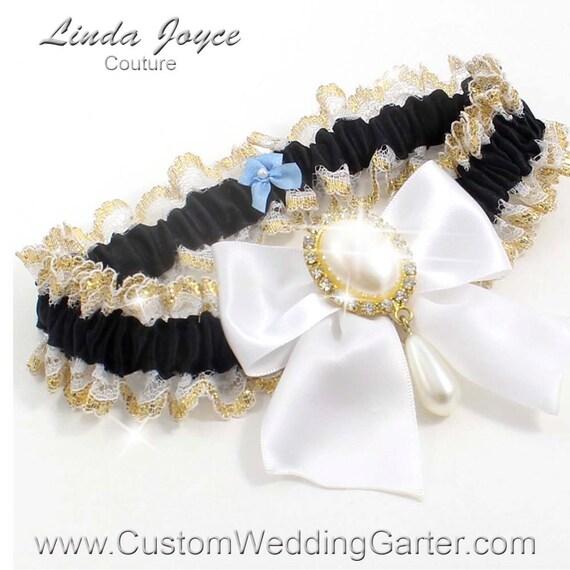 White Wedding Garter: Items Similar To Black And White WEDDING GARTER Pearl