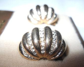 Sale Vintage PANETTA Earrings ORIGINAL Card Unworn Clear Rhinestones Signed