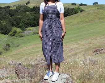 Navy and White Polka Dot Overall Wrap Dress