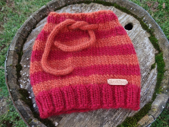 Drawstring Cowl Knitting Pattern : Hand knitted striped drawstring hat / cowl in red and rust
