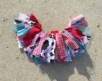Red, turquoise and Pink Shabby chic Cowgirl fabric tutu  - Western Tutu - cowgirl tutu - cow Tutu, shabby chic fabric tutu skirt