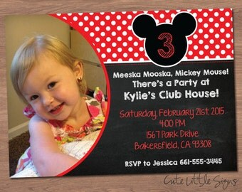 Mickey Mouse Chalk Birthday Invitation Digital Download