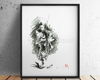 SAMURAI Ronin Warrior Sword Katana Wakizashi Tanto Tsuba GICLEE fine art print of watercolor and ink PAINTING
