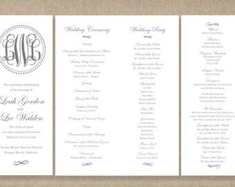 Printable Folded Wedding Program