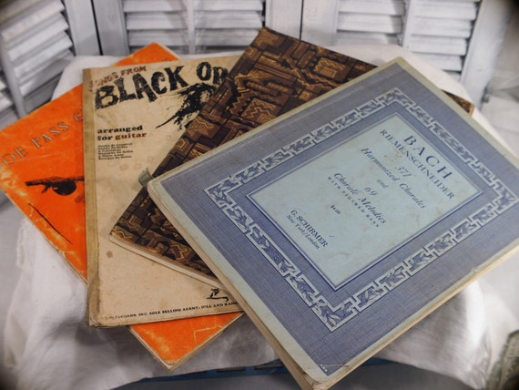 Collection of Song Books, Black Orpheus 1966, Bach Violin Solo, Joe Pass Guitar 1970, 1941 Bach - 4 Music Books Vintage