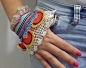 Handflower-Rainbow Beaded Cuff - Handflower-Turkish Lace - Colorful Beaded Crochet Bracelet and Flower Patterns - Cotton Yarn Bracelet -