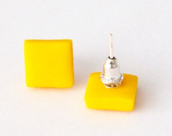 Mustard Yellow Square Earrings, Yellow Earrings, Mustard Studs, Square Earrings, Geometric Earrings, Mustard Yellow Studs, Square studs