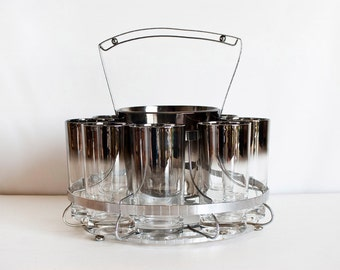 Mid Century Vitreon Queen Lustreware Silver Fade Barware, Extra Large Set of Tumblers with Ice Bucket and Rack, Silver Ombre, Mad Men
