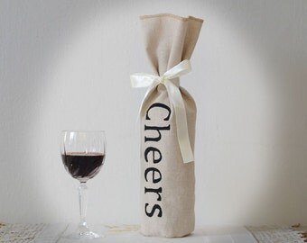 Wine Gift Bag, Wine Bag for Wedding, Linen Wine Holder,  SET OF 10