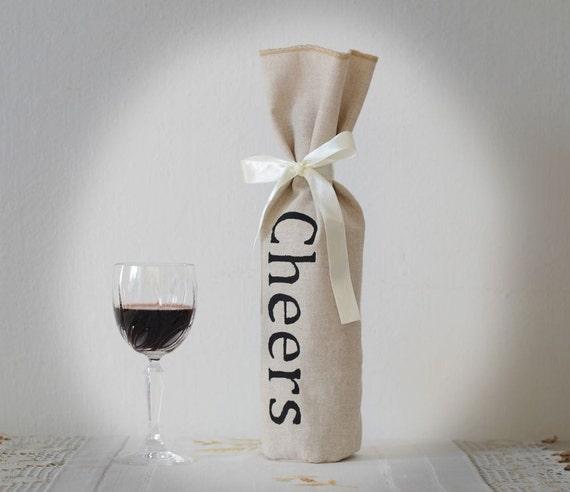 Wine Gift Bag, Wine Bag for Wedding, Linen Wine Holder, SET OF 10