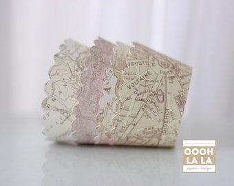 MADE TO ORDER Ivory, Cream and Beige Vintage Map Cupcake Wrappers- Set of 12